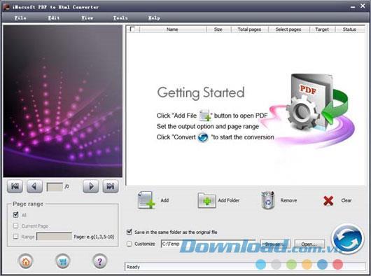 iMacsoft PDF to Html Converter2.0-PDFをHTMLに変換
