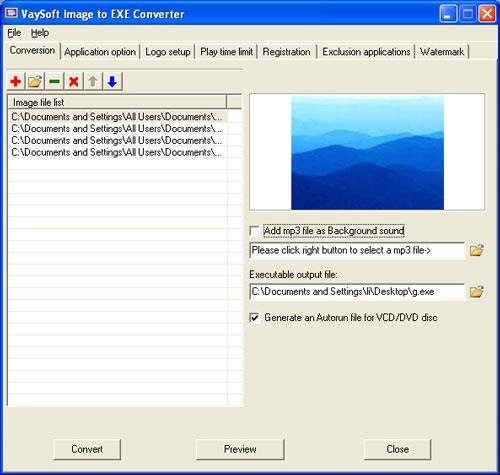 VaySoft Image to EXE Converter 4.52 - Konvertieren Sie Bilder in EXE