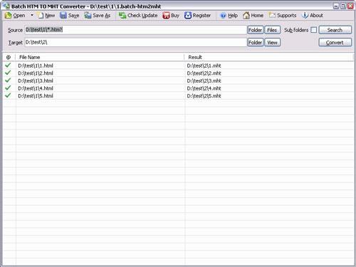 Batch HTML to MHT Converter - Konvertiert HTM in MHT