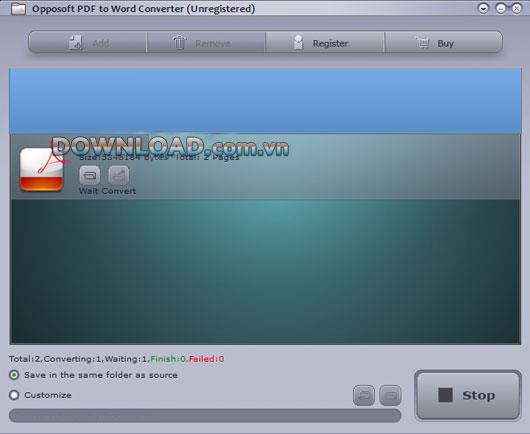 Opposoft PDF to WordConverter-PDFをWordに変換