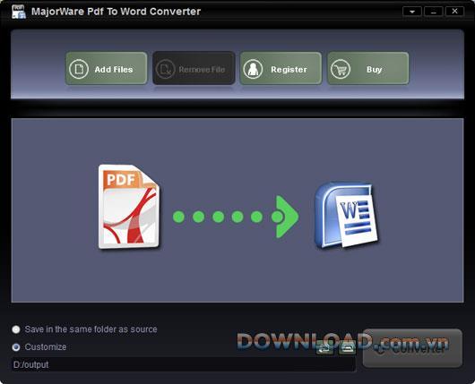 Majorware PDF to WordConverter-PDFをWordに変換
