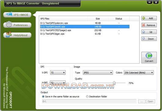 OpooSoft XPS To IMAGEConverter-XPSを画像に変換します