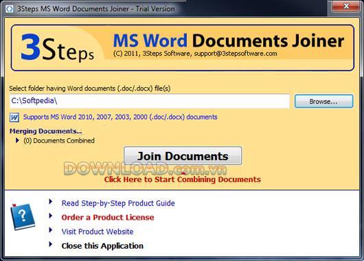 3Steps MS Word Documents Joiner - Führen Sie Word-Dokumente zusammen