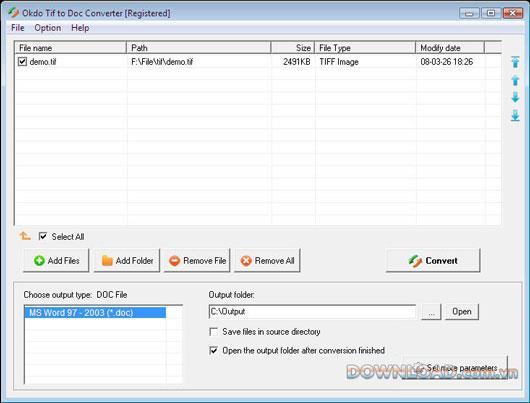 Okdo Tif to Doc Converter-TiffをDocに変換