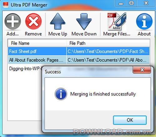 Ultra PDF Merger1.3.9-PDFファイル結合ソフトウェア