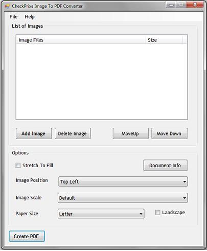 CheckPrixa画像からPDFへのコンバーター