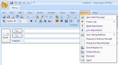 Outlook2007のクラシックメニュー