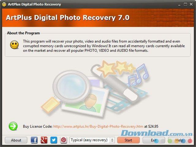 Art Plus Digital Photo Recovery 7 7.2.9.220 - Stellen Sie Fotos von Speicherkarten wieder her