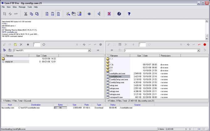 Core FTP LE 2.2.1957 - Dienstprogramme zum Hochladen und Verwalten von Daten über FTP