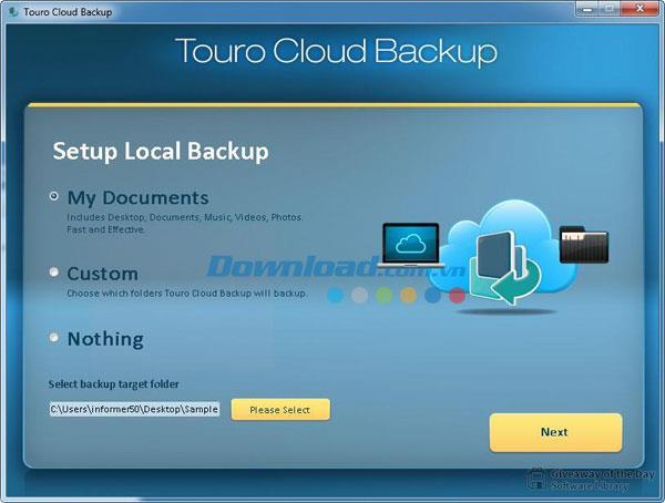 Touro Cloud Backup 2.0.1 - Einfaches Datensicherungsprogramm