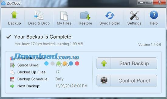ZipCloud 1.4.0.6 - Kostenlose Datensicherung