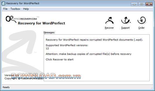 Wiederherstellung für WordPerfect - Wiederherstellen beschädigter Corel WordPerfect-Dokumente