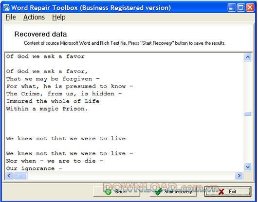 Word Repair Toolbox - Wiederherstellen beschädigter Word-Dateien