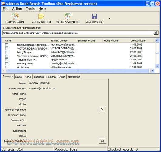 Adressbuch-Reparatur-Toolbox - Gelöschte Kontaktliste wiederherstellen