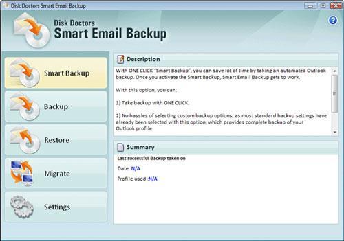 Disk Doctors Smart E-Mail-Sicherung 1.0.0 - Verschieben und Sichern der Outlook-E-Mail-Einstellungen