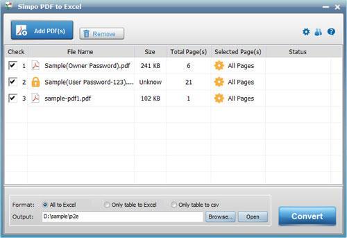 Simpo PDF to Excel Converter