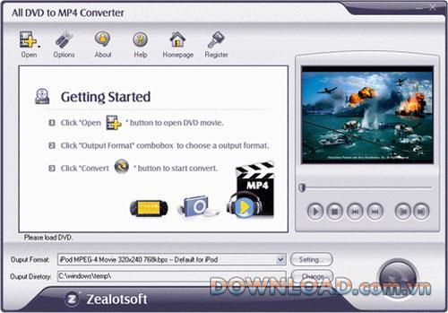 Alle DVD zu MP4 Konverter 1.7.9 - Konvertieren Sie DVD zu MP4