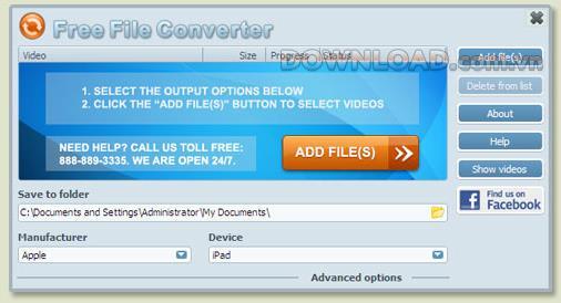 FreeFileConverter - Konvertieren Sie Videos zum Öffnen auf iPad, iPhone, Nintendo, ...