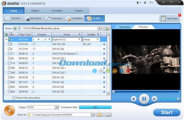 DVDFab Blu-ray to DVD Converter 9.0.6.3 - Software zum Konvertieren von Blu-ray to DVD