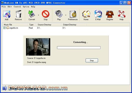 NewLive RM zu AVI VCD SVCD DVD MPEG Converter Pro - Konvertieren Sie RM / RAM zu AVI, DVD