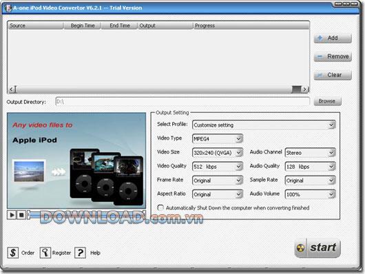 A-one iPod Video Converter - Konvertieren Sie Videos schnell in einen iPod