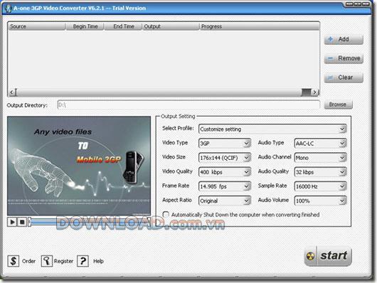 A-one 3GP Video Converter - Konvertieren Sie Videos in 3GP