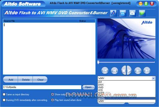 Altdo Flash zu AVI WMV DVD Converter & Burner - Konvertieren Sie Flash in andere Formate