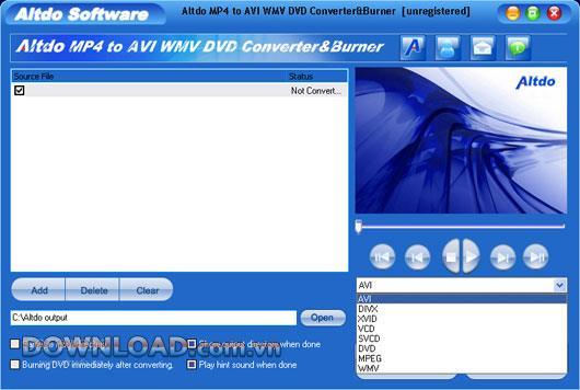 Altdo MP4 zu AVI WMV DVD Converter & Burner - Konvertieren Sie MP4 in andere Formate