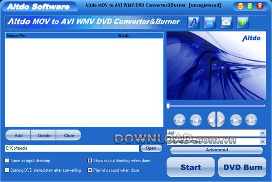 Altdo MOV zu AVI WMV DVD Converter & Burner - Konvertieren Sie MOV in andere Formate