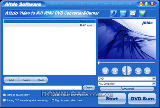 Altdo Video zu AVI WMV DVD Converter & Burner - Konvertieren Sie Videos in andere Formate