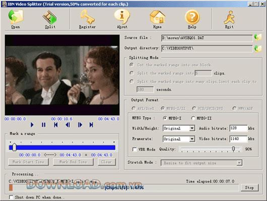 IBN Video Splitter - Schneiden Sie große Videodateien