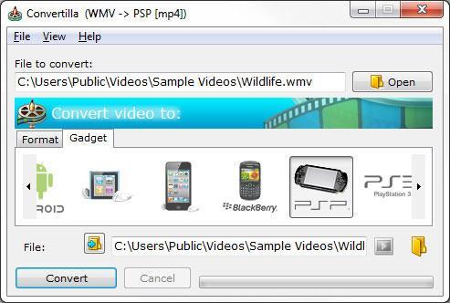 Convertilla - Konvertiert Videodateien