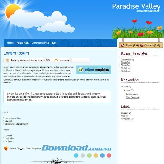 Paradise Valley - Technologie Thema kostenlose Vorlage Vorlage