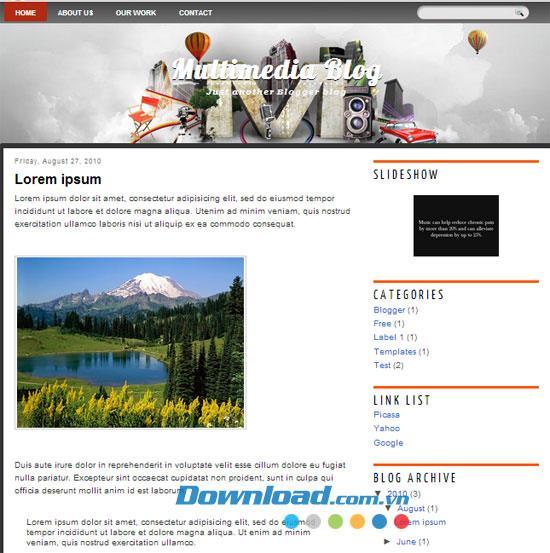 Multimedia Blog - Vorlage für ein kostenloses Medienthema