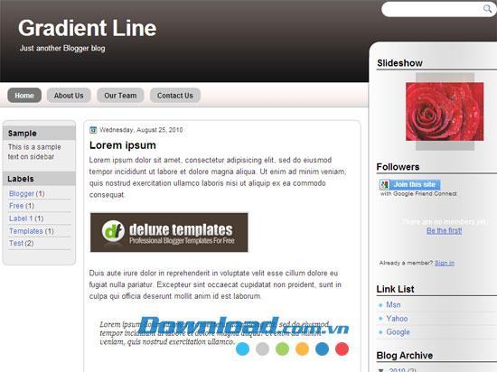Gradient Line - Kostenlose Blog-Vorlage für Blogger