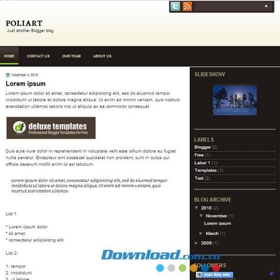 PoliArt - Kostenlose Blog-Vorlage für Kunstthemen