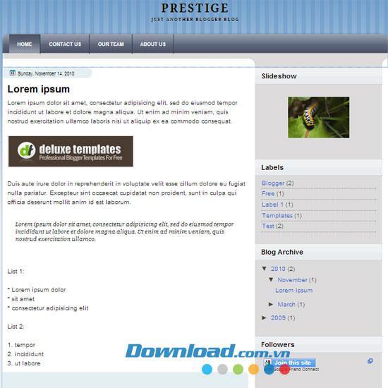 Prestige - Kostenloses personalisiertes Blog-Thema