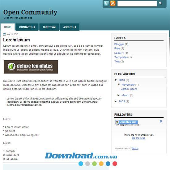 Open Community - Kostenloses Geschäftsthema für Blog-Vorlagen