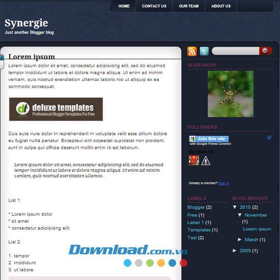 Synergie - Kostenlose Vorlage für ein persönliches Blog-Thema