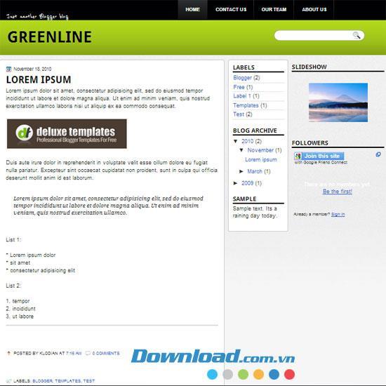 GreenLine - Vorlagenvorlage mit einzigartigem Design