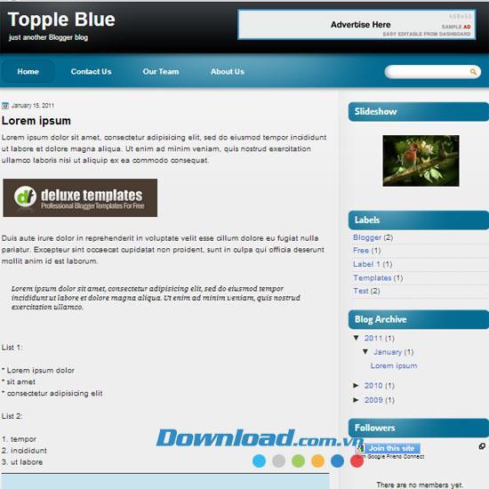 Topple Blue - Einzigartiges Tech-Blog-Thema für Blogger