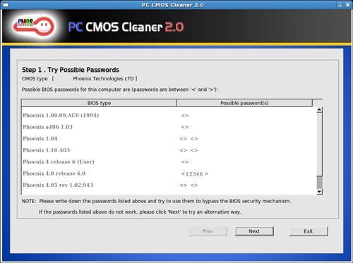 PC CMOS Cleaner 2.0 - Dienstprogramm zum Entfernen von BIOS-Passwörtern