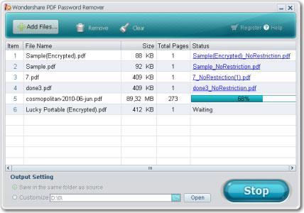 Wondershare PDF Password Remover für Mac 1.5.0 - Entfernen Sie das Passwort für die PDF-Datei
