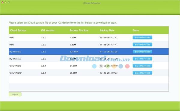 iCloud Extractor für Mac 1.0 - Verwalten Sie Sicherungsdateien in iCloud
