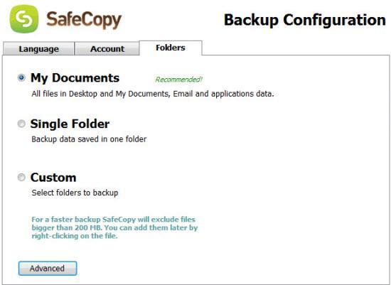 SafeCopy für Mac - Online-Datensicherung