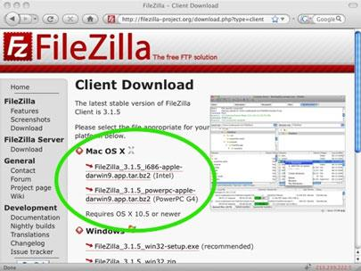 FileZilla für Mac (PPC)