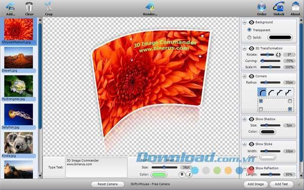 3D Image Commander für Mac 2.20 - Erstellen Sie 3D-Effekte für Fotos