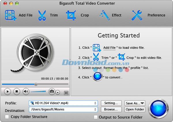 Bigasoft Total Video Converter für Mac - Software zum Konvertieren von Video und Audio für Mac