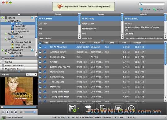 AnyMP4 iPod Transfer für Mac - Übertragen Sie Dateien vom iPod auf den Mac