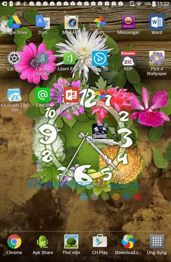 Android用花時計ライブ壁紙-Android上の美しい花時計の壁紙